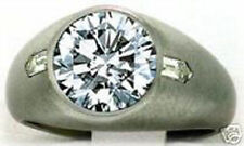 5.01 ct Round & 2 Bullet cut Diamond Solitaire Mens Ring 14k gold 4.61 ct center