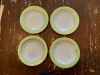 Vintage Pyrex Lime Green With Gold Trim 6.75 Inch Dessert Plate Set Of 4 Q