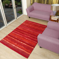 Large Art Stripe Wool Rugs Stripes of Reds and Scarlet woollen 150x240cm (5x8')