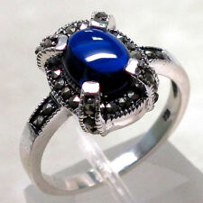 UNUSUAL MARCASITE 2 CT SAPPHIRE 925 STERLING SILVER RING SIZE 5-10