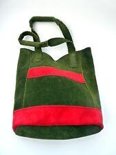 Vintage Genuine Suede Tote Green Red Shoulder Bag Handbag