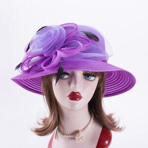Womens Dress Formal Church Wedding Kentucky Derby Tea Party Sun Hats X738