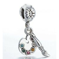 925 Sterling Silver Palette and Brush Design Bead Charms Fit European Bracelet