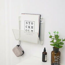 Iron Magazine Newspaper Rack Holder Organiser Wall Mounted Storage White