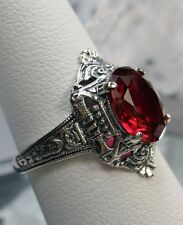 3ct Oval Cut *Ruby/Red* Sterling Silver Filigree Art Deco/Egyptian Ring Size 10