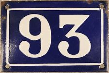 Old blue French house number 93 door gate plate plaque enamel metal sign c1930
