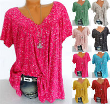 Plus Size Womens Summer V-neck Floral Tops Shirt Ladies Casual Loose Blouse Tops