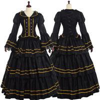 Medieval Dress Ball Gown Gothic Pleated Skirt Civil-War Crinoline Vintage