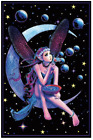 FAIRY DREAM 23 x 35 PERCHED ON MOON BLOWING BUBBLES BLACK LIGHT POSTER