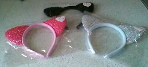 Sparkly Cat Ears on a Black Alice Band - Choice of 3 Colours
