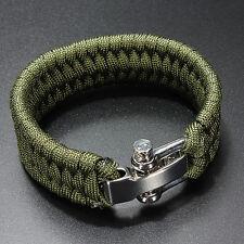 7 Strand di sopravvivenza militare tessuto Bracciale Cord Buckle - Verde  HK