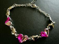 crystal pink heart bracelet birthday christmas wedding bridesmaid 474