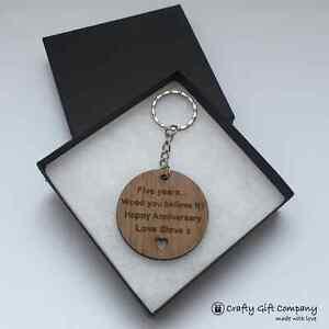 5th Anniversary Gift, Wood keyring in walnut plus presentation bag