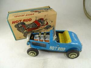 Vintage TN Japan Hot Rod Friction Car Piston Action Toy Tin Car Model w/ Box Old