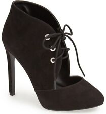 NEW in BOX Nine West Black Suede Cut Out Lace Up Booties NICOLETTE Boots 12M