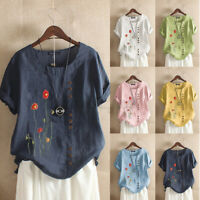 Women Summer Short Sleeve Floral Embroidery Top Cotton Casual Loose Shirt Blouse