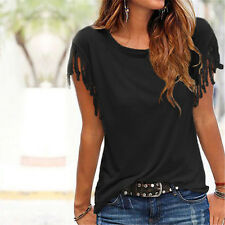 Womens Summer Holiday Tops Shirts Cotton Casual Short Sleeve Blouse Tops T-Shirt