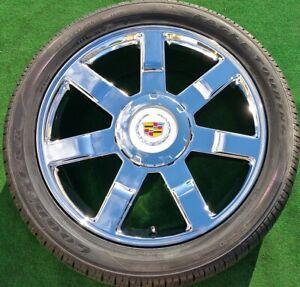 Cadillac Escalade Wheels Tires 22 inch OEM Factory GM spec 4 NEW Chrome Goodyear