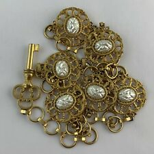 Vintage Belt Or Necklace Victorian Style Gold Metal Alloy Faux Pearl Key Link