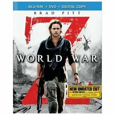 World War Z (Blu-ray/DVD, 2013, 2-Disc Set, Unrated) NEW + Slipcover FREE SHIP