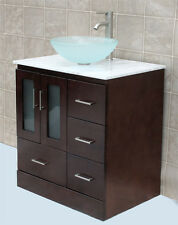 """30"""" Bathroom Vanity 30-inch Cabine White Top Glass Vessel Sink &Faucet MO"""