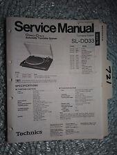 Technics SL-dd33 service manual original repair book stereo turntable system