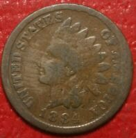 1884 Indian Head Cent Penny , Circulated , US Coin