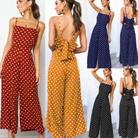 UK Ladies Women Summer Jumpsuit Sleeveless Clubwear Wide Leg Pant  Spot Outfits