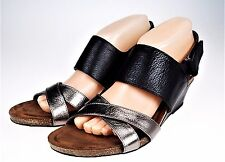 Sofft Valmont Black Open Toe Leather Wedge Sandal Shoes