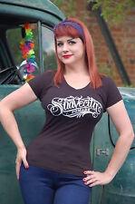 SUAVECITA Pomade Women's Black Skull Logo V-neck  T-shirt Day of the Dead