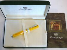 MONTEGRAPPA SYMPHONY FOUNTAIN PEN IN YELLOW CELLULOID & SILVER/18K GOLD M NIB