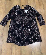 New George Ladies Long Sleeve Dress or Tunic Top Size 22 black Floral  Viscose