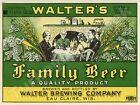 "WALTER'S FAMILY BEER LABEL 9"" x 12"" METAL SIGN"
