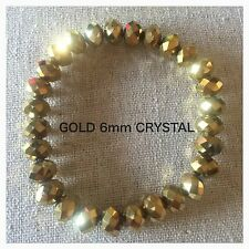 Gold Crystal Stretch Bracelet Made With 6mm Swarovski Rondelle Components