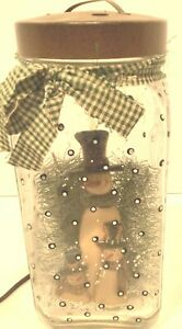 Country Primitive Snowmen,Trees Snow in Glass Jar with Cover Light Lamp Electric