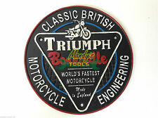 TRIUMPH BONNEVILLE Motorcycle Motorbike Cast Iron Round Sign Wall Plaque YMCTR