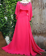 £200 Super RARE Boho Luxe MONSOON Embellished Kaftan SILK Coral Maxi Dress 12
