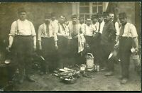 SOLDIERS LUNCH FIELD KITCHEN ARMY MILITARY SCENE RPPC ANTIQUE PHOTO POSTCARD