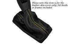 GIALLO Stitch Leather Pelle Auto Automatico GEAR GAITER si adatta a FIAT CROMA 2005-2010