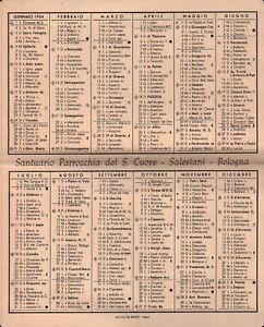 1954 - CALENDARIO TASCABILE PARROCCHIA DEL SACRO CUORE SALESIANI BOLOGNA