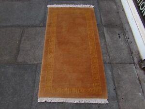 Vintage Hand Made Tibetan Art Deco Chinese Oriental Pink Wool Runner 142x77cm