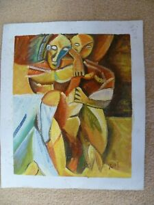A VINTAGE ACRYLIC ON CANVAS RE-CREATION OF 'FRIENDSHIP' BY PICASSO. SIGNED 'R M'