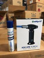 Whip it Ion Lite Butane torch New Lifetime warranty BLACK Refill Lighter COMBO