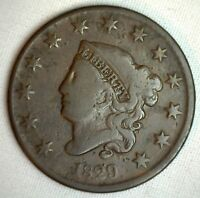 1829 Coronet Large Cent US Copper Type Coin Very Good Newcomb Variety N3 M6 VG