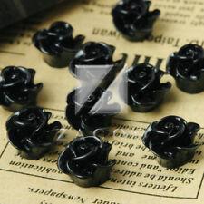 10pcs Resin Flower Cabochons Cameo Flatback Button Embellishments Black BWRB0500