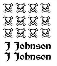 Bike Frame Name and Skull & Crossbones Set Decals Stickers
