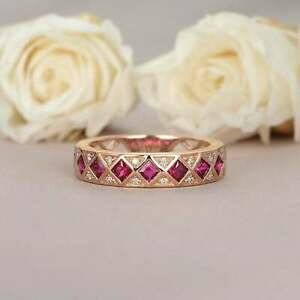 1.50Ct Princess Cut Ruby & Diamond Vintage Wedding Band Ring 14k Rose Gold Over