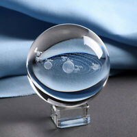 3D Solar System Crystal Ball Planets Glass Ball Engraved Globe Miniature C5Z