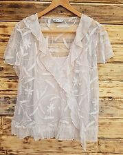 women's M&S 14 summer top vest lace embroidered blouse cover up 2 in 1 almond