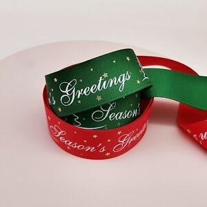 Seasons Greetings Print Ribbon,Christmas Gift Wrapping Ribbon,Christmas Ribbon